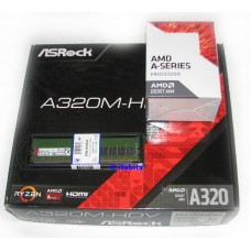 Asrock A320M-HDV AM4 + AMD A6-9500 Dual Core CPU + 4GB DDR4 Ram Upgrade Pack