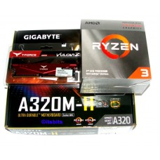 Gigabyte A320M-H + AMD AM4 Ryzen 3 3200G Quad Core 3.6Ghz CPU + 8GB DDR4 Ram