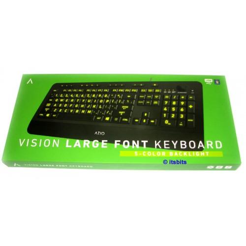 9834bb23d29 Azio KB506 Vision Backlit USB Keyboard with 5 Backlit Colours & Large Print  Keys