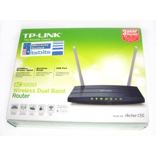 TP-LINK ARCHER C50 AC1200 DUAL BAND WIRELESS 4 PORT ROUTER
